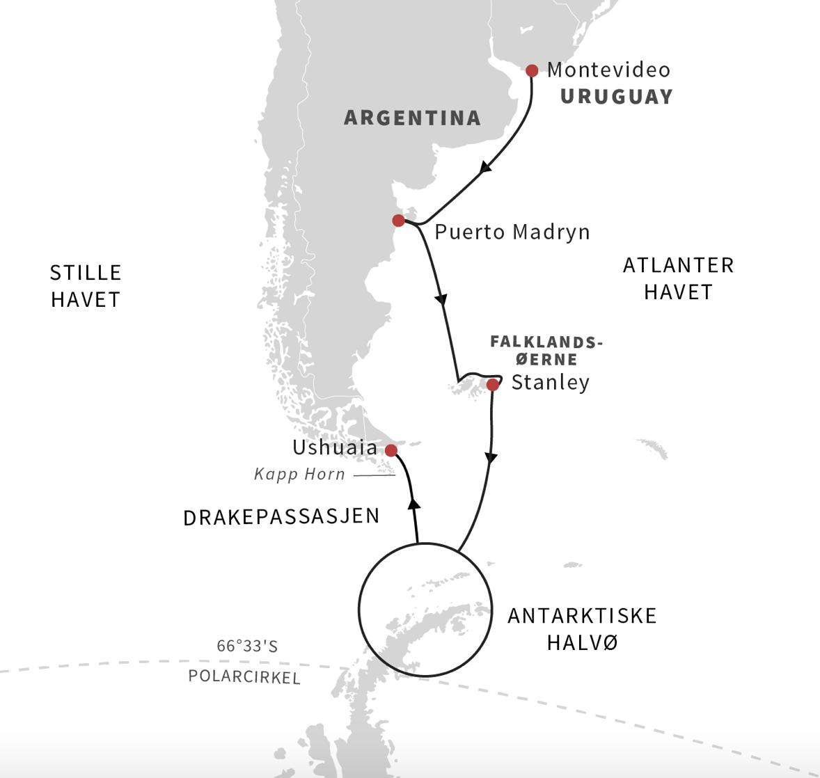 Ruten Montevideo til Antarktis til Ushuaia